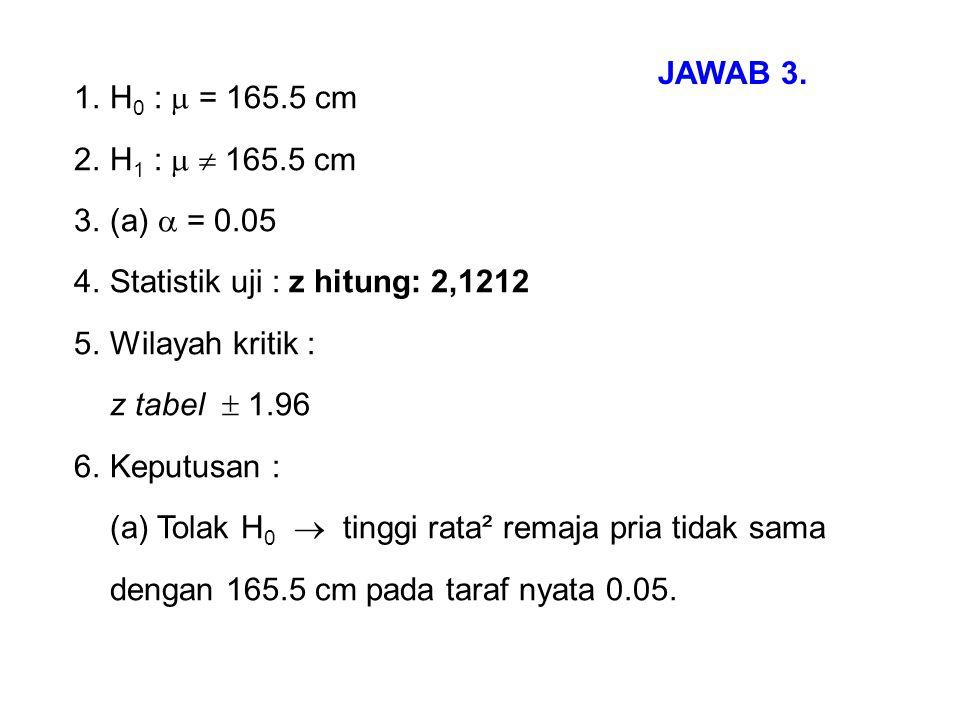 JAWAB 3. H0 :  = 165.5 cm. H1 :   165.5 cm. (a)  = 0.05. Statistik uji : z hitung: 2,1212. Wilayah kritik :