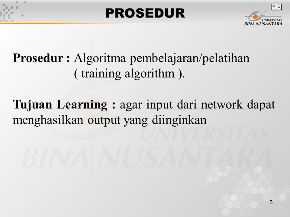 PROSEDUR Prosedur : Algoritma pembelajaran/pelatihan. ( training algorithm ).