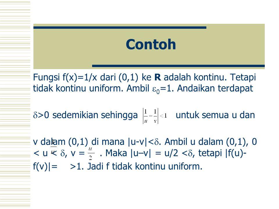 Contoh Fungsi f(x)=1/x dari (0,1) ke R adalah kontinu. Tetapi tidak kontinu uniform. Ambil 0=1. Andaikan terdapat.