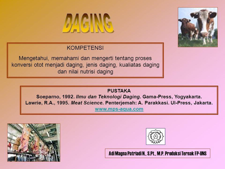 Soeparno, 1992. Ilmu dan Teknologi Daging. Gama-Press, Yogyakarta.