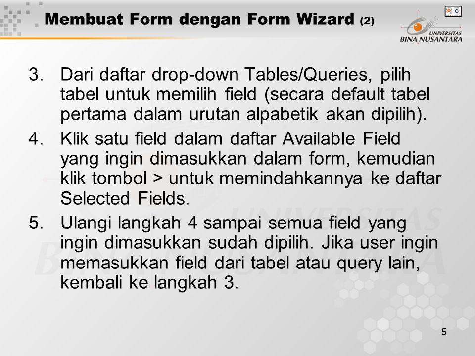 Membuat Form dengan Form Wizard (2)