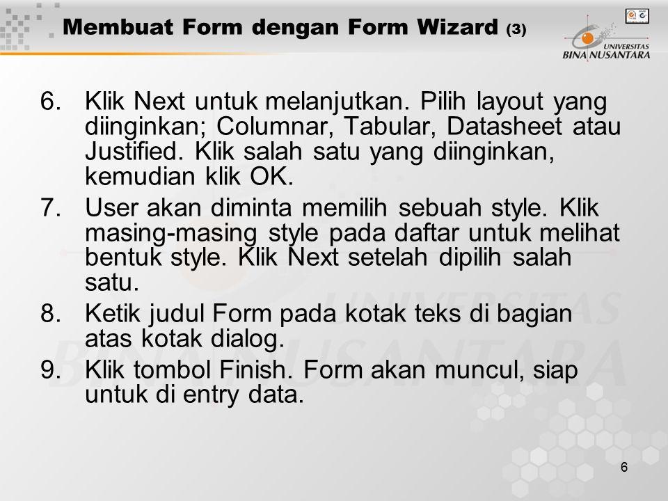 Membuat Form dengan Form Wizard (3)