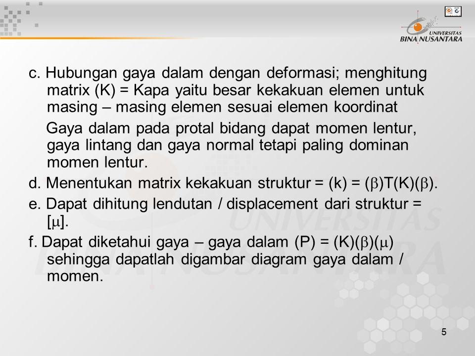 c. Hubungan gaya dalam dengan deformasi; menghitung matrix (K) = Kapa yaitu besar kekakuan elemen untuk masing – masing elemen sesuai elemen koordinat