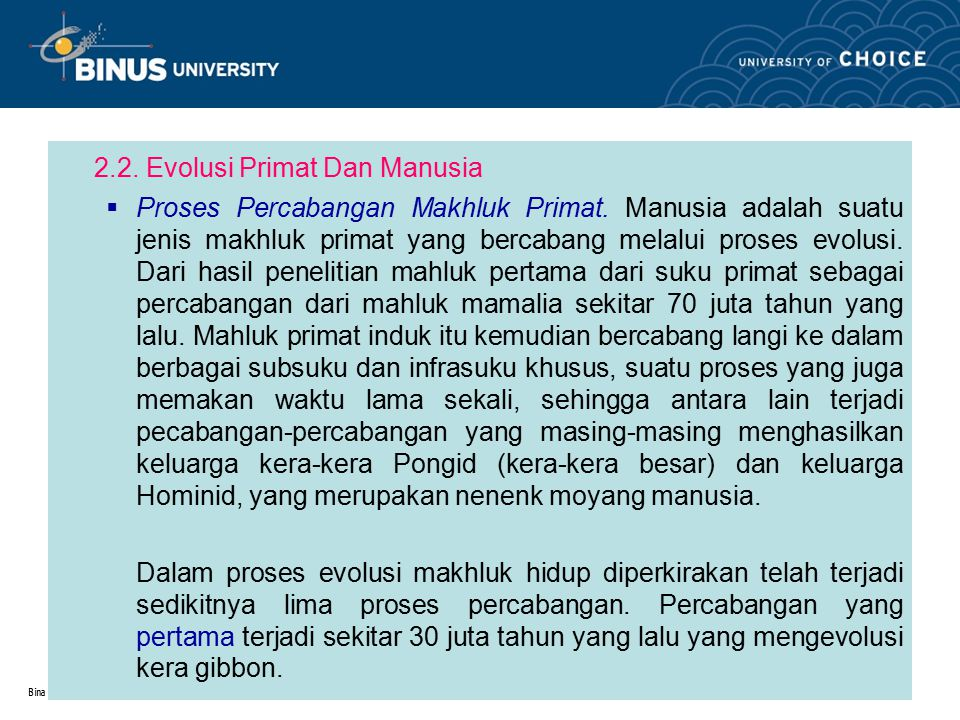 2.2. Evolusi Primat Dan Manusia