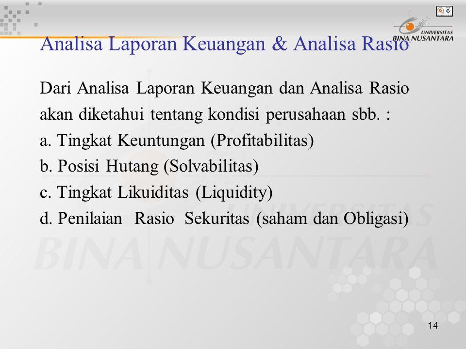 Analisa Laporan Keuangan & Analisa Rasio