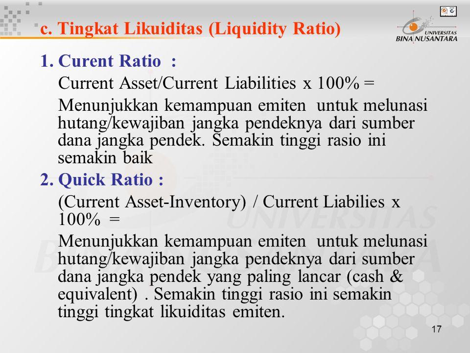 c. Tingkat Likuiditas (Liquidity Ratio)
