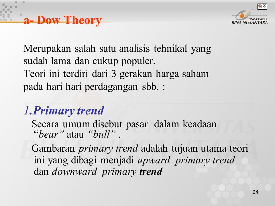 a- Dow Theory 1.Primary trend