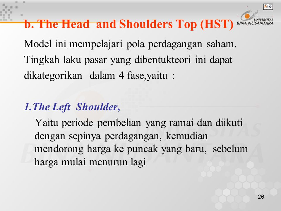b. The Head and Shoulders Top (HST)