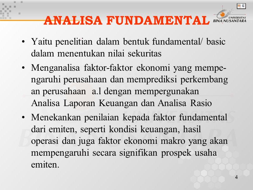 ANALISA FUNDAMENTAL Yaitu penelitian dalam bentuk fundamental/ basic dalam menentukan nilai sekuritas.