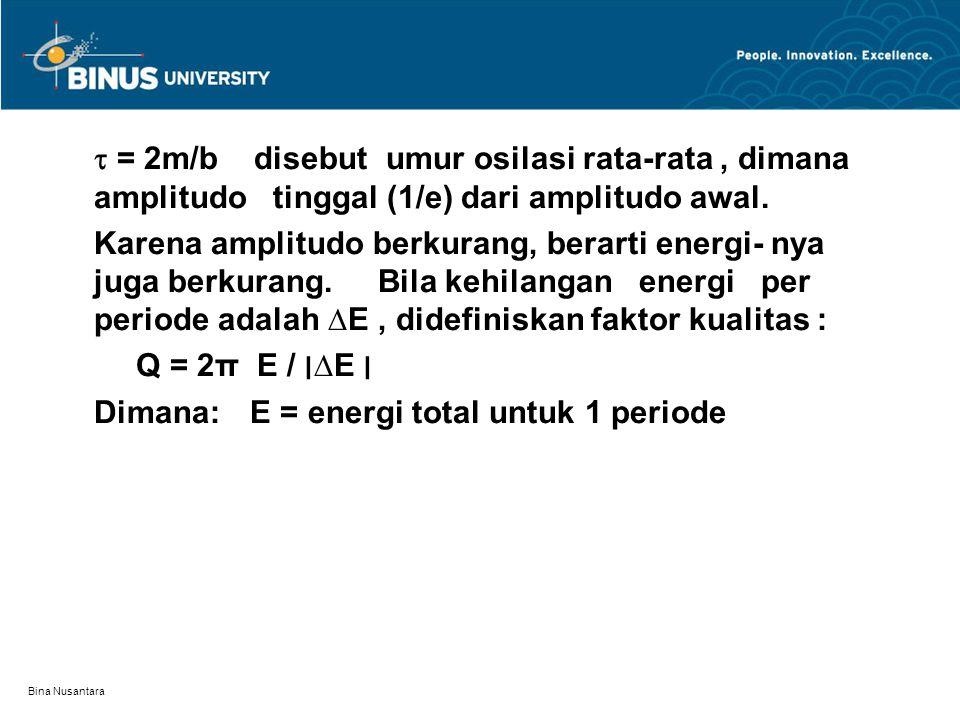 Dimana: E = energi total untuk 1 periode