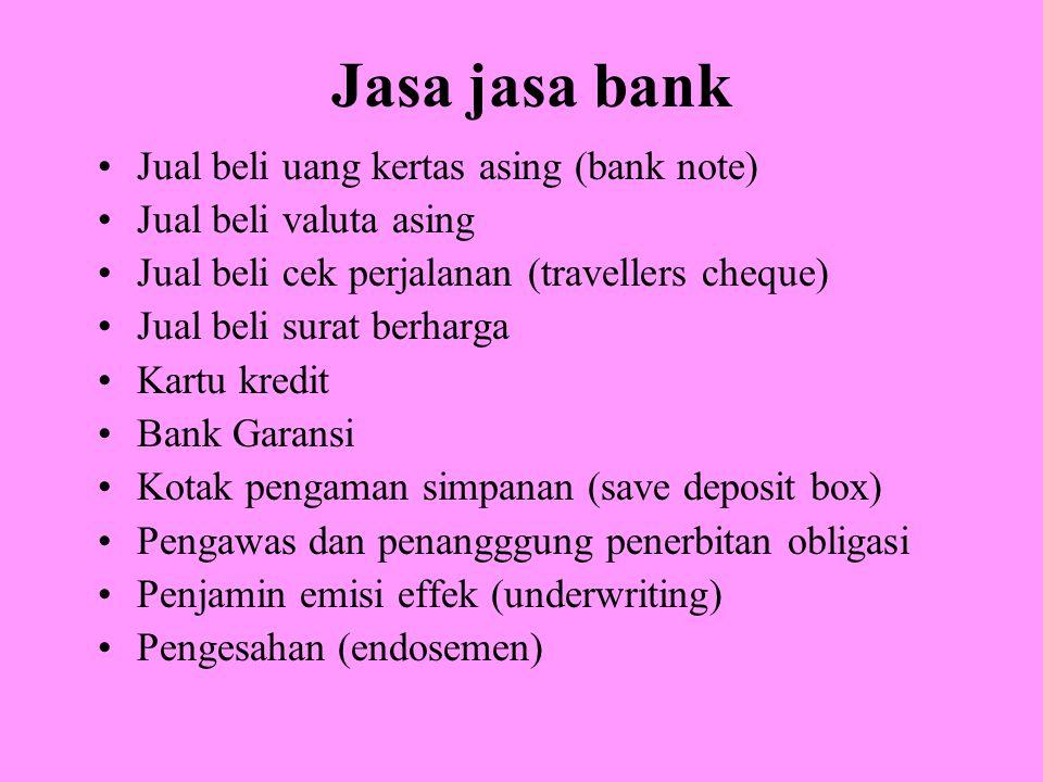 Jasa jasa bank Jual beli uang kertas asing (bank note)