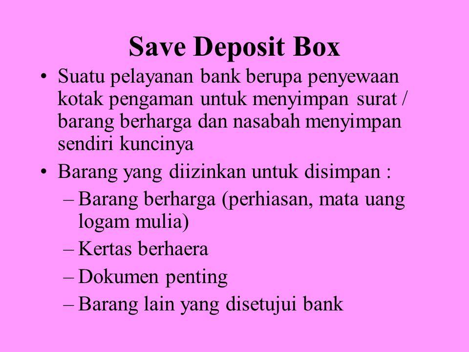 Save Deposit Box Suatu pelayanan bank berupa penyewaan kotak pengaman untuk menyimpan surat / barang berharga dan nasabah menyimpan sendiri kuncinya.