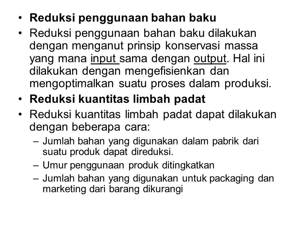 Reduksi penggunaan bahan baku