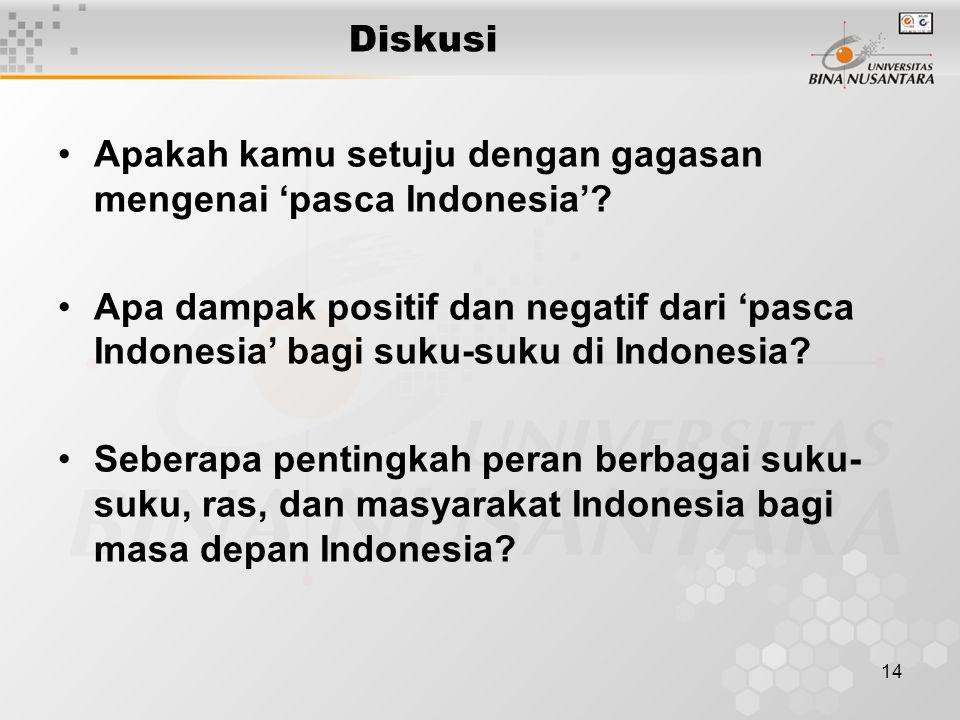 Diskusi Apakah kamu setuju dengan gagasan mengenai 'pasca Indonesia'