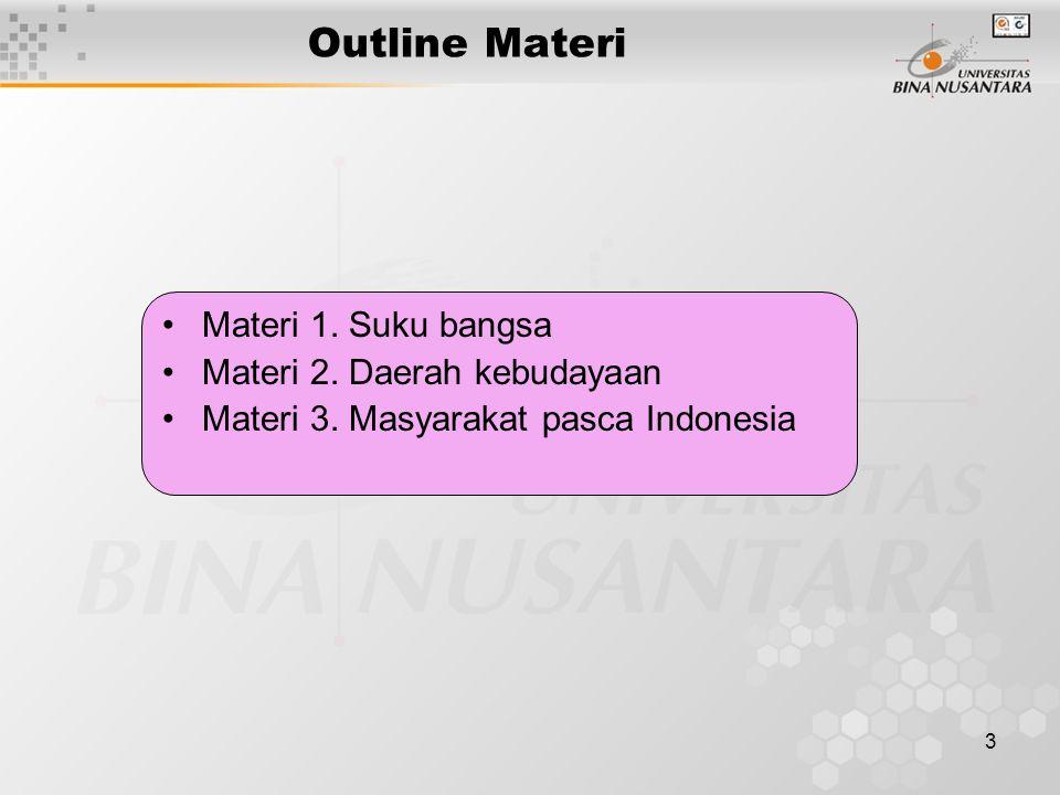 Outline Materi Materi 1. Suku bangsa Materi 2. Daerah kebudayaan