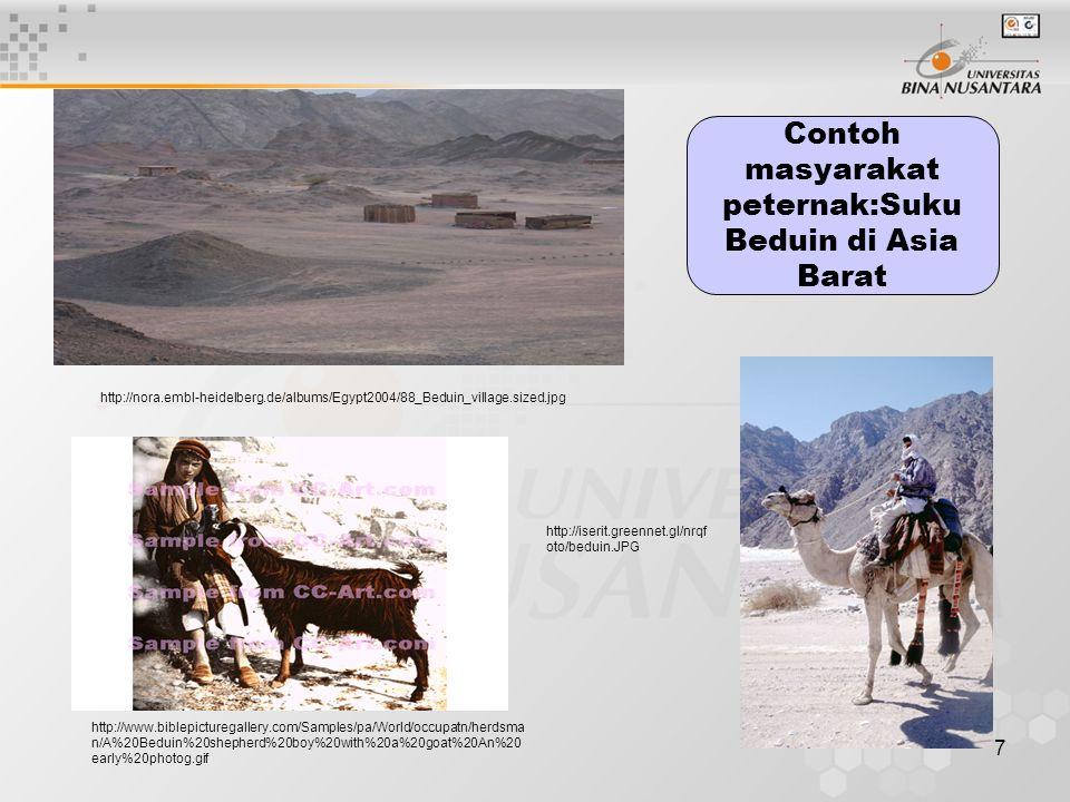 Contoh masyarakat peternak:Suku Beduin di Asia Barat