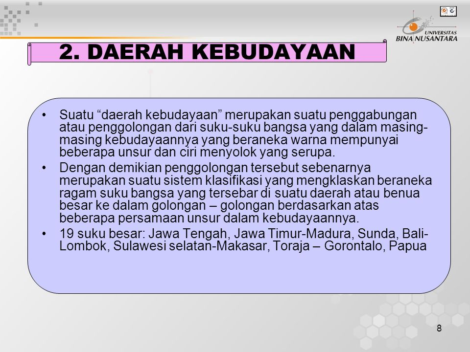 2. DAERAH KEBUDAYAAN