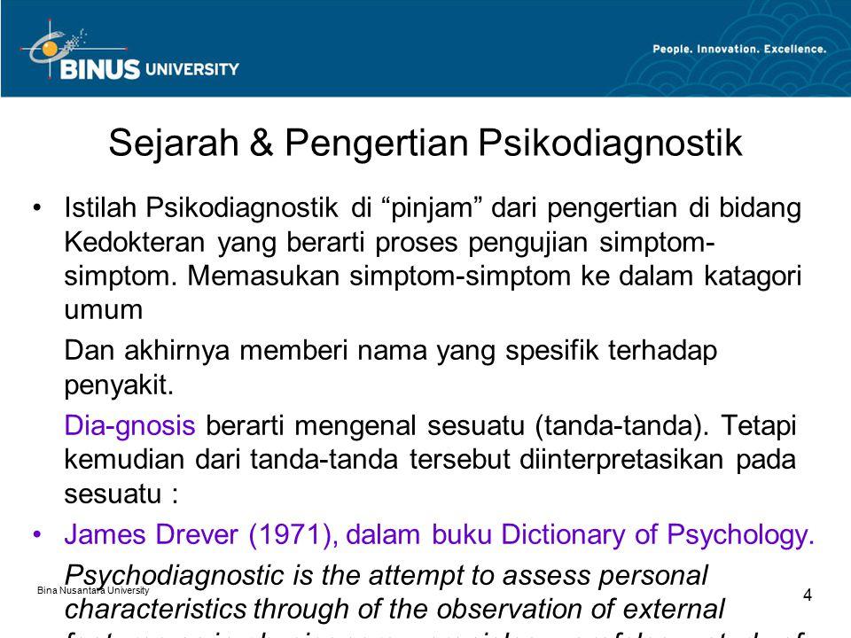 Sejarah & Pengertian Psikodiagnostik