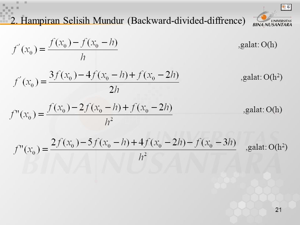 2. Hampiran Selisih Mundur (Backward-divided-diffrence)