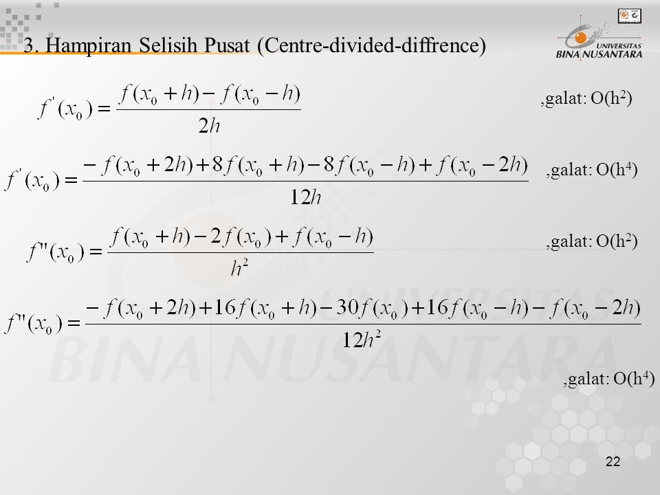3. Hampiran Selisih Pusat (Centre-divided-diffrence)