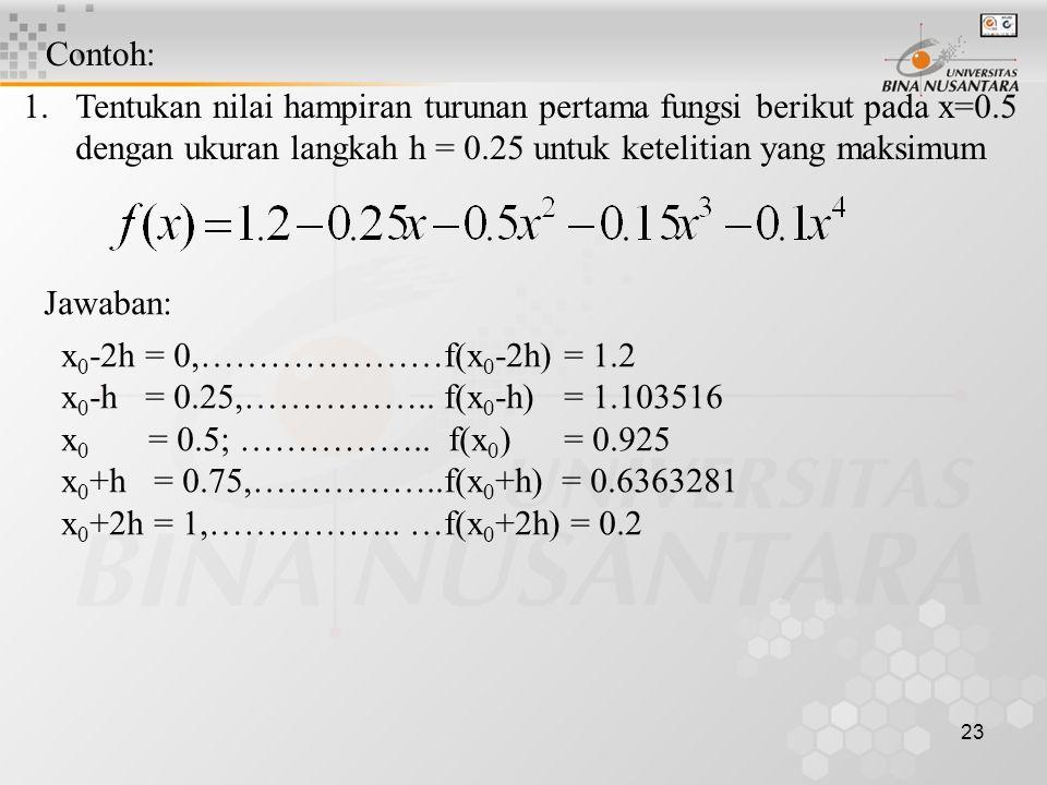 Contoh: Tentukan nilai hampiran turunan pertama fungsi berikut pada x=0.5. dengan ukuran langkah h = 0.25 untuk ketelitian yang maksimum.