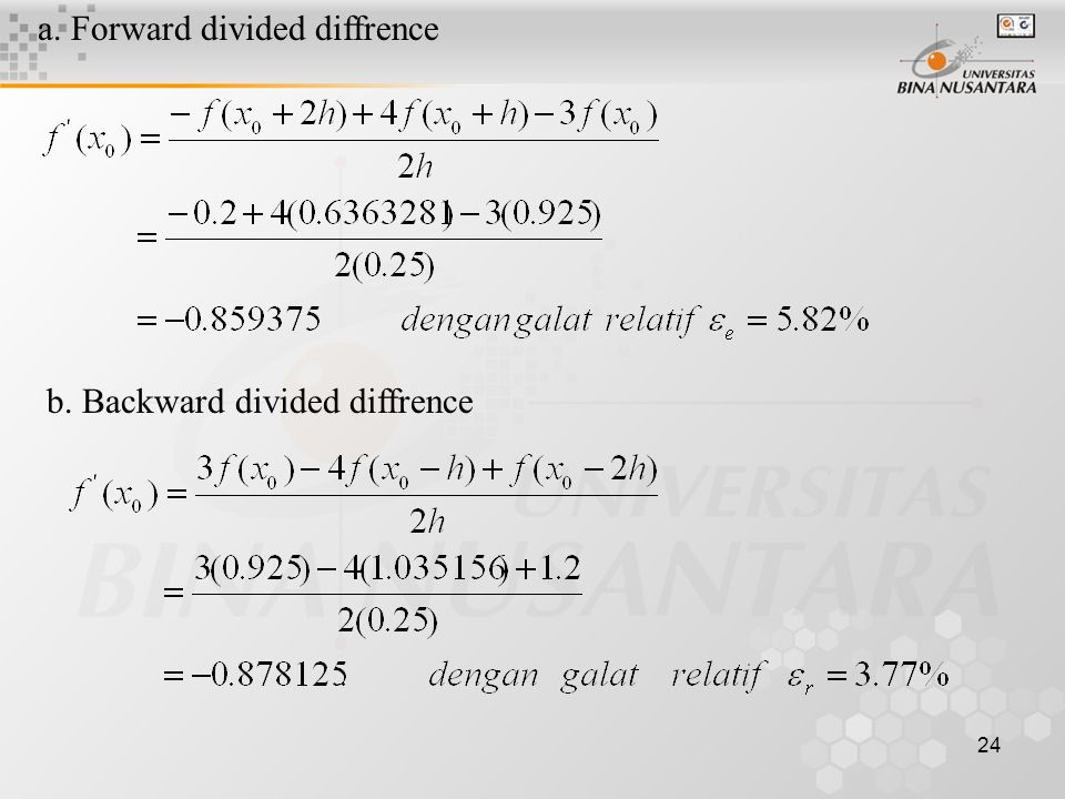 a. Forward divided diffrence