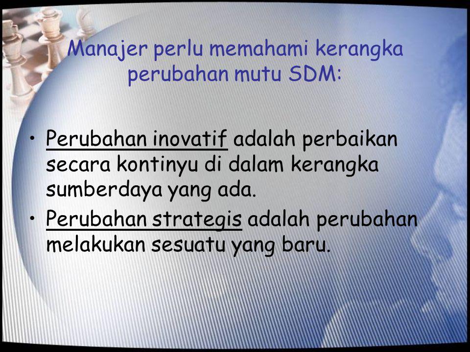 Manajer perlu memahami kerangka perubahan mutu SDM: