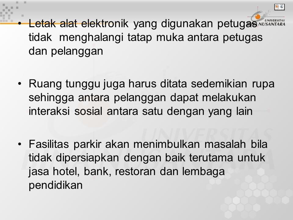 Letak alat elektronik yang digunakan petugas tidak menghalangi tatap muka antara petugas dan pelanggan