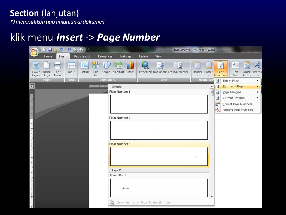 klik menu Insert -> Page Number