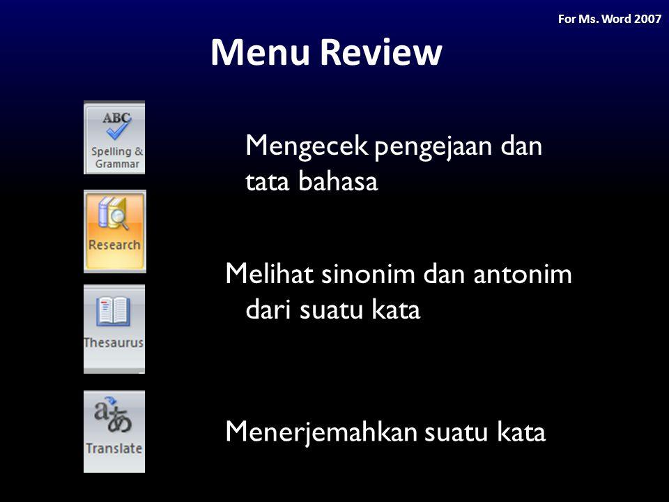 Menu Review Mengecek pengejaan dan tata bahasa