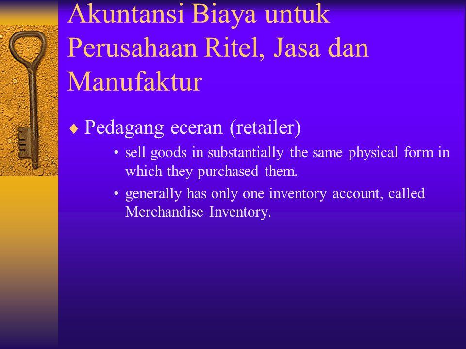 Akuntansi Biaya untuk Perusahaan Ritel, Jasa dan Manufaktur