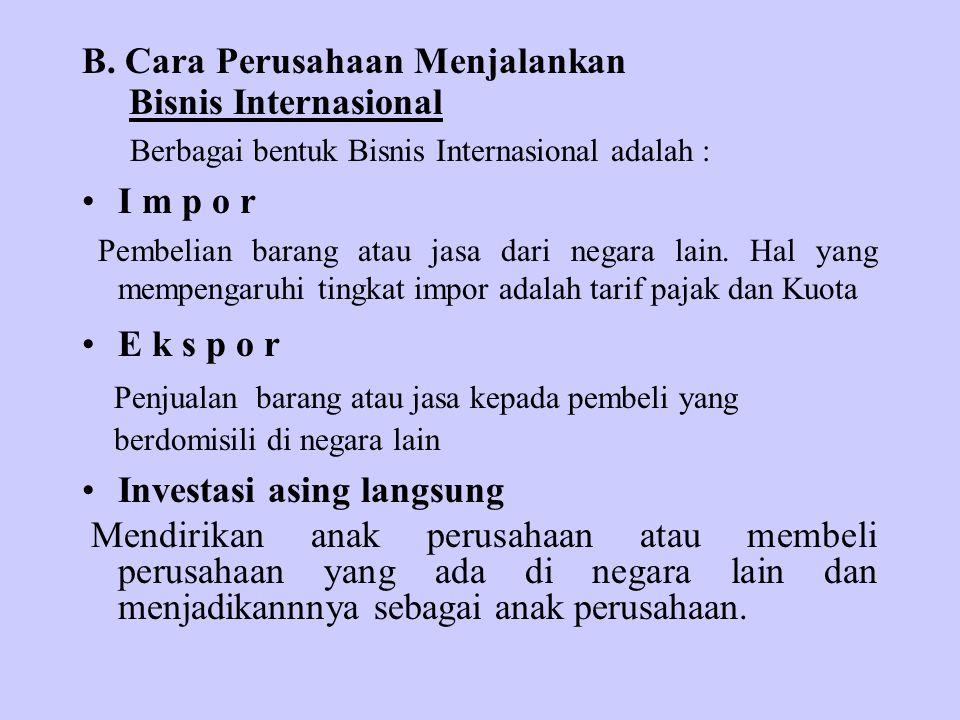B. Cara Perusahaan Menjalankan Bisnis Internasional I m p o r