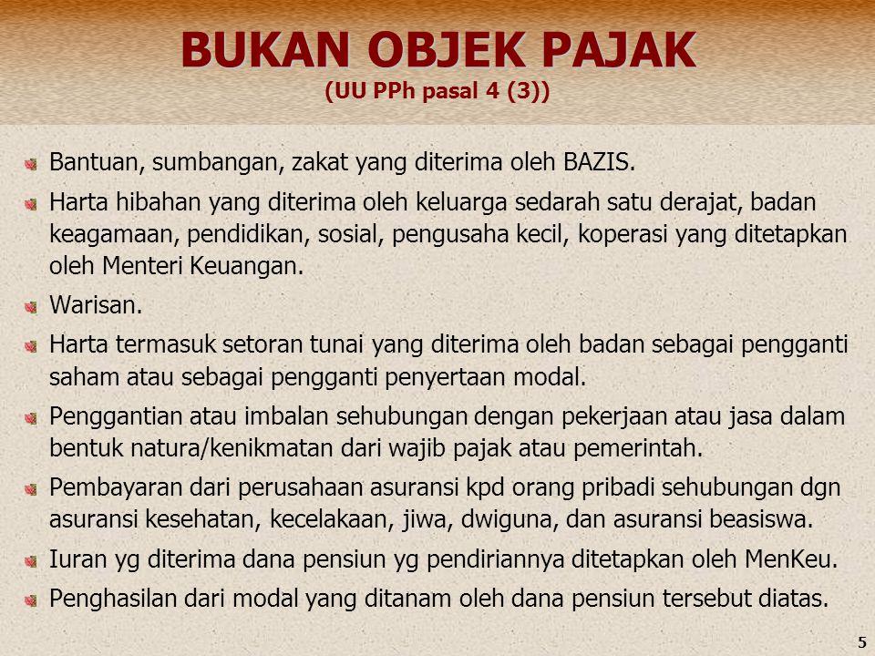 BUKAN OBJEK PAJAK (UU PPh pasal 4 (3))