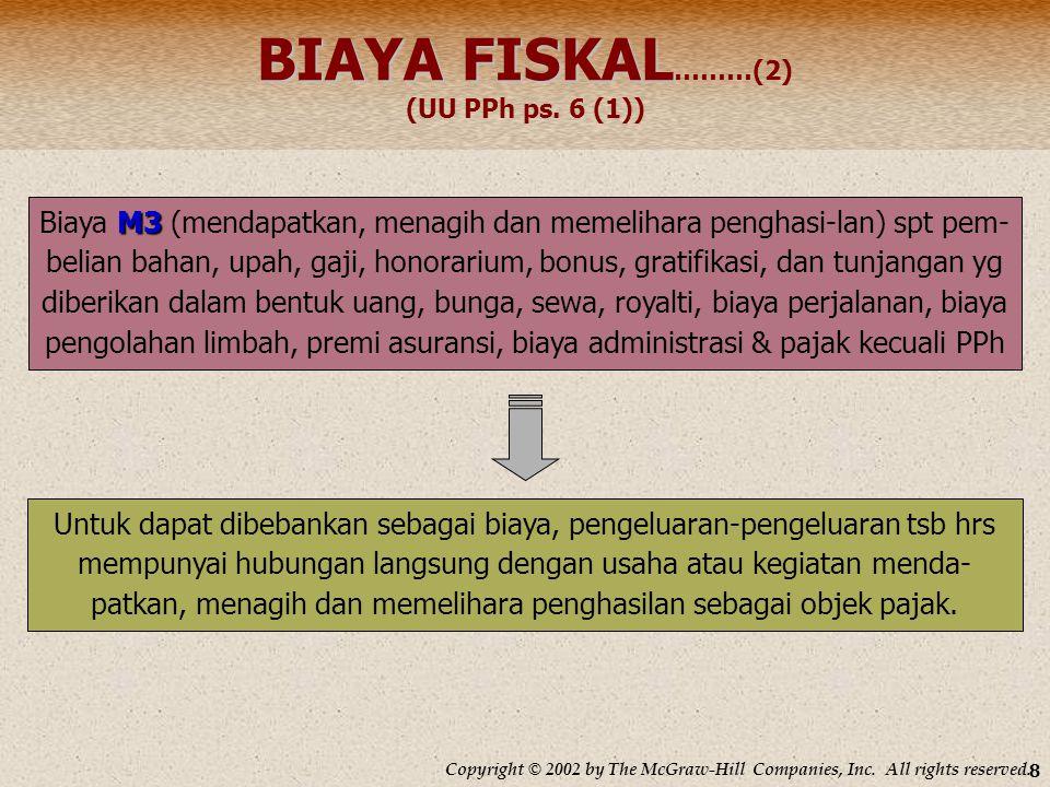 BIAYA FISKAL………(2) (UU PPh ps. 6 (1))
