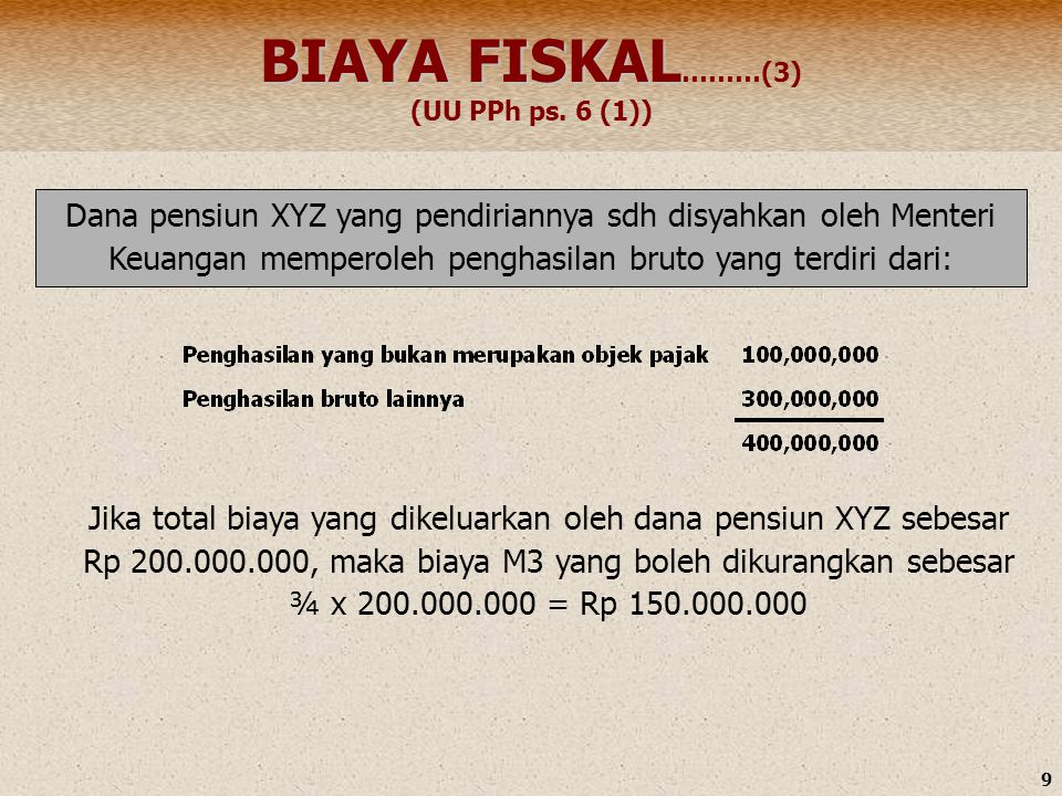 BIAYA FISKAL………(3) (UU PPh ps. 6 (1))