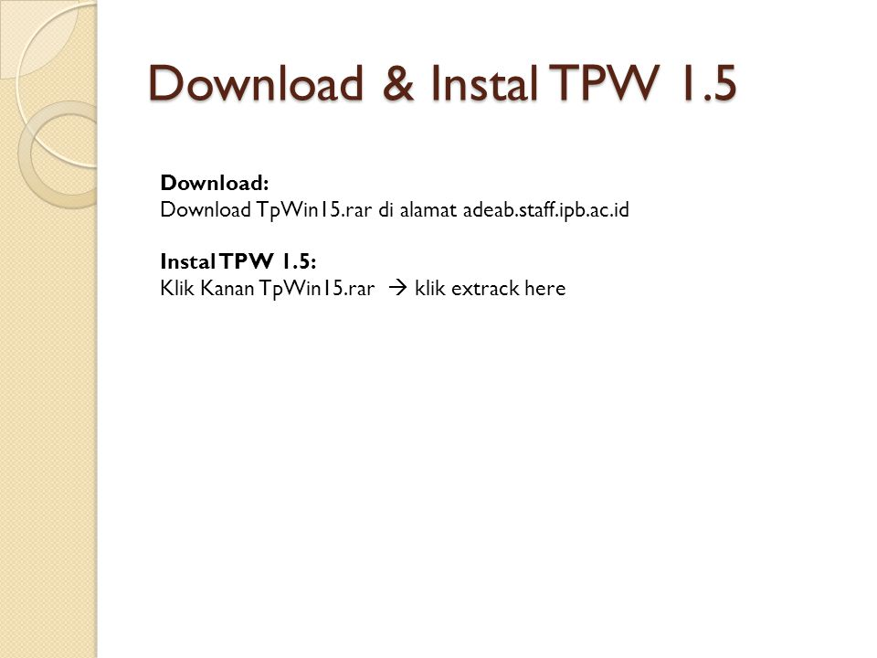 Download & Instal TPW 1.5 Download:
