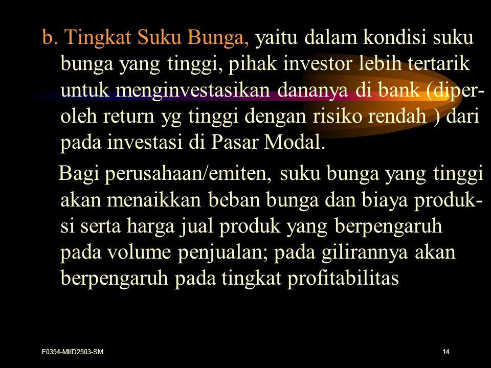 b. Tingkat Suku Bunga, yaitu dalam kondisi suku bunga yang tinggi, pihak investor lebih tertarik untuk menginvestasikan dananya di bank (diper- oleh return yg tinggi dengan risiko rendah ) dari pada investasi di Pasar Modal.
