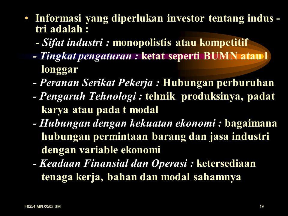 Informasi yang diperlukan investor tentang indus - tri adalah :
