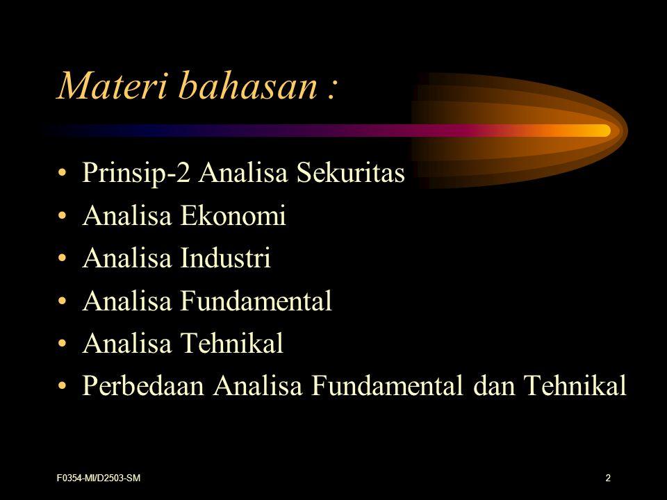 Materi bahasan : Prinsip-2 Analisa Sekuritas Analisa Ekonomi