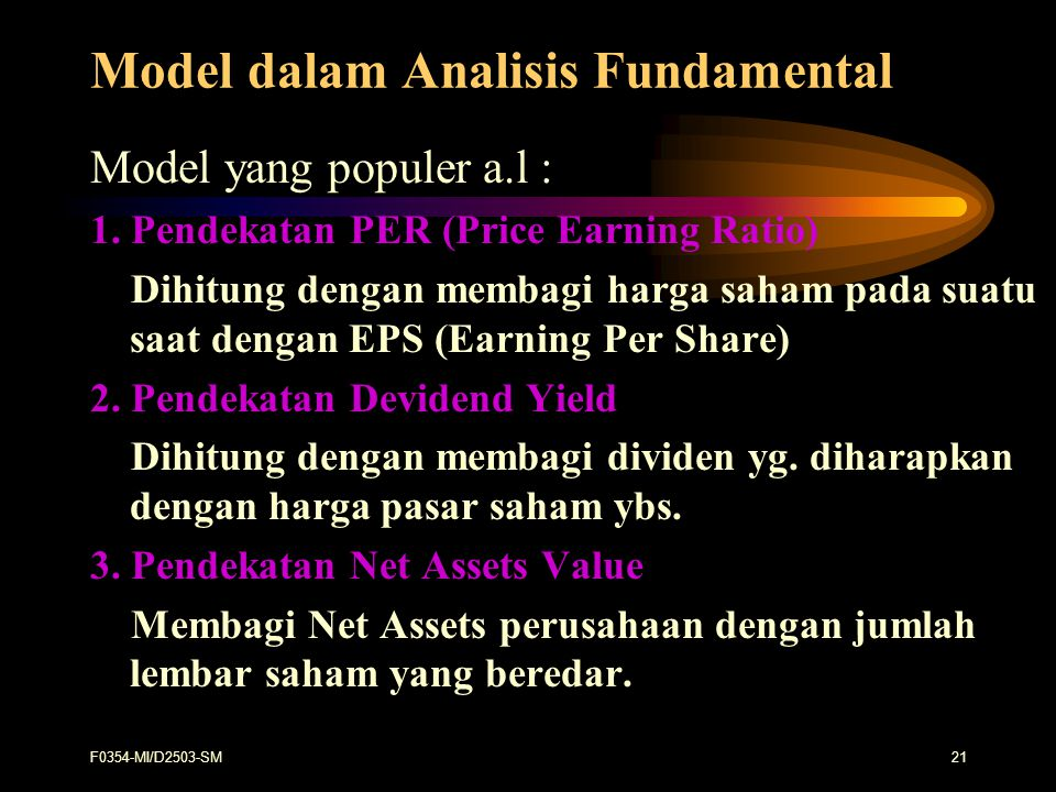 Model dalam Analisis Fundamental