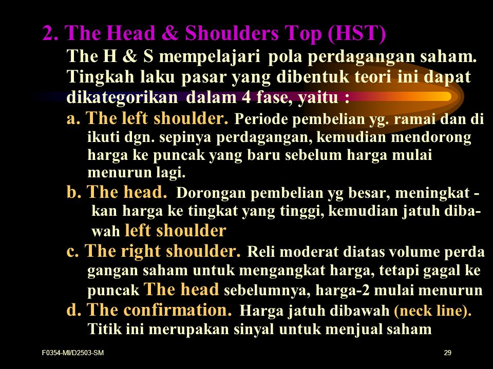 2. The Head & Shoulders Top (HST)