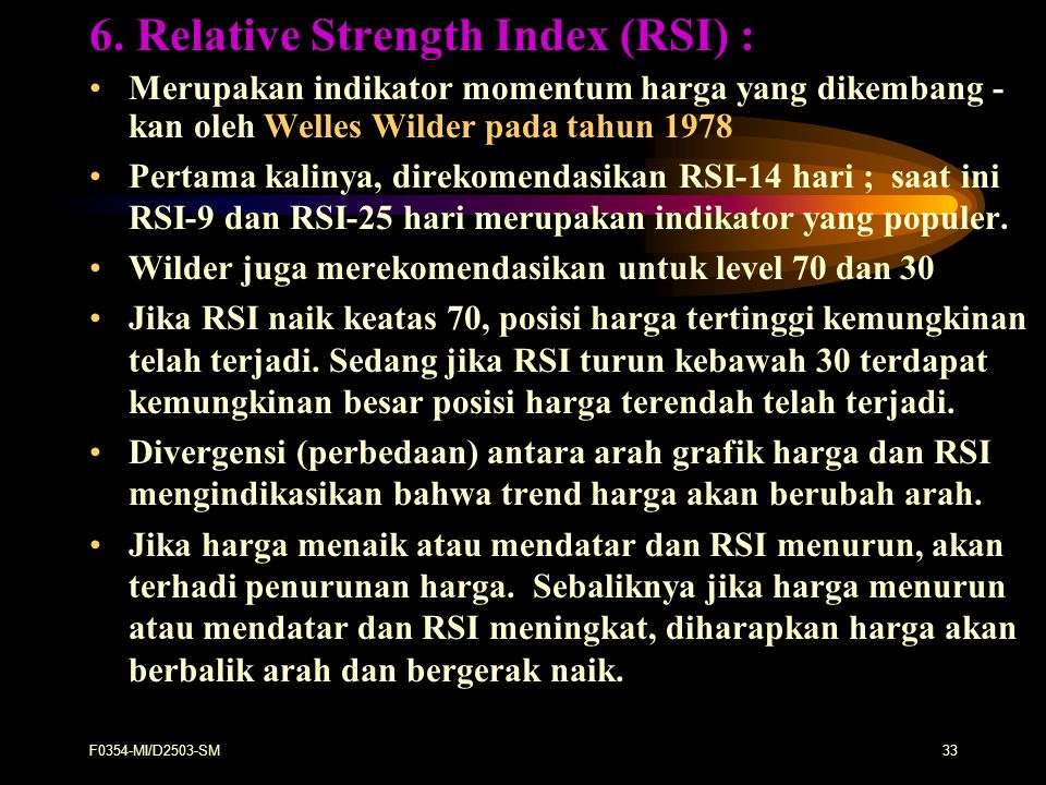 6. Relative Strength Index (RSI) :