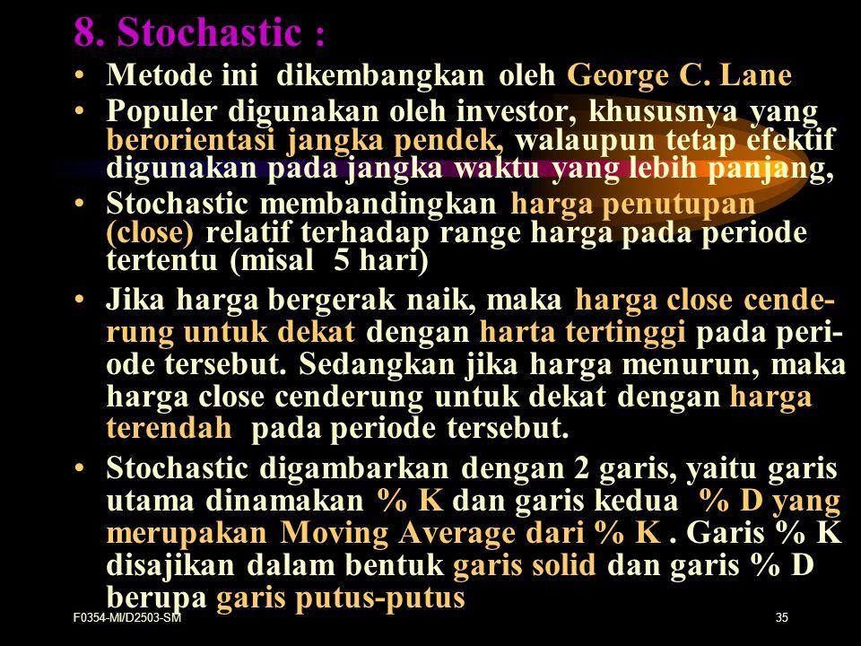 8. Stochastic : Metode ini dikembangkan oleh George C. Lane