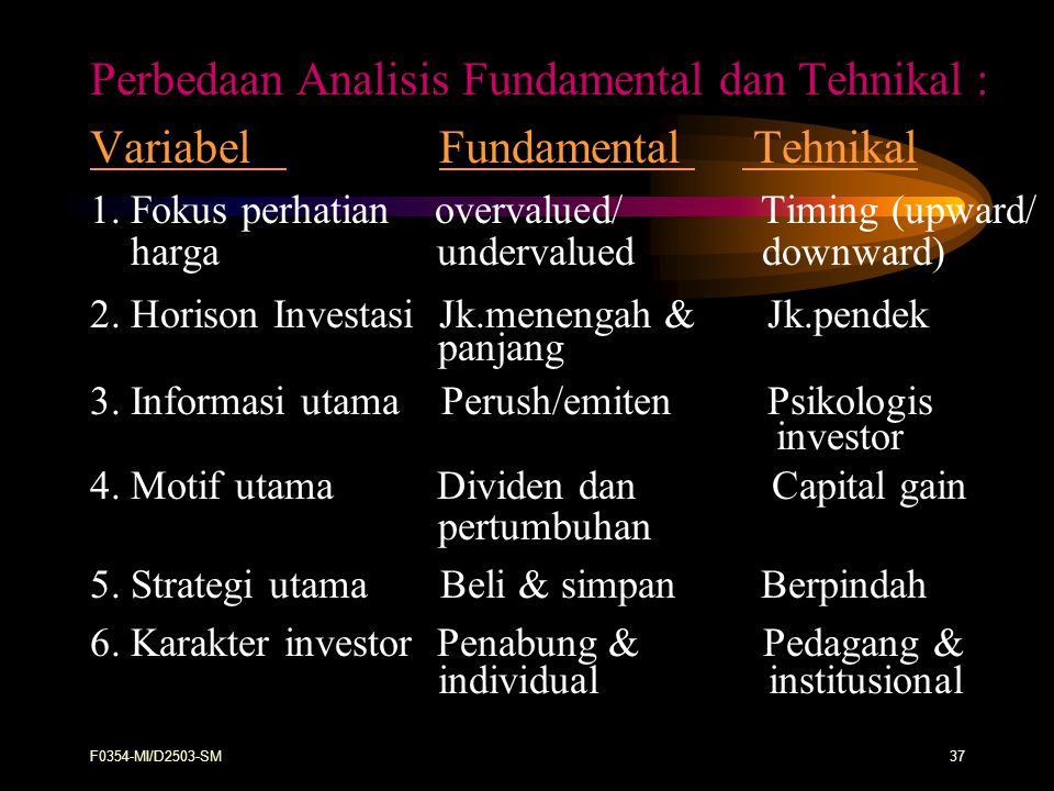 Perbedaan Analisis Fundamental dan Tehnikal :
