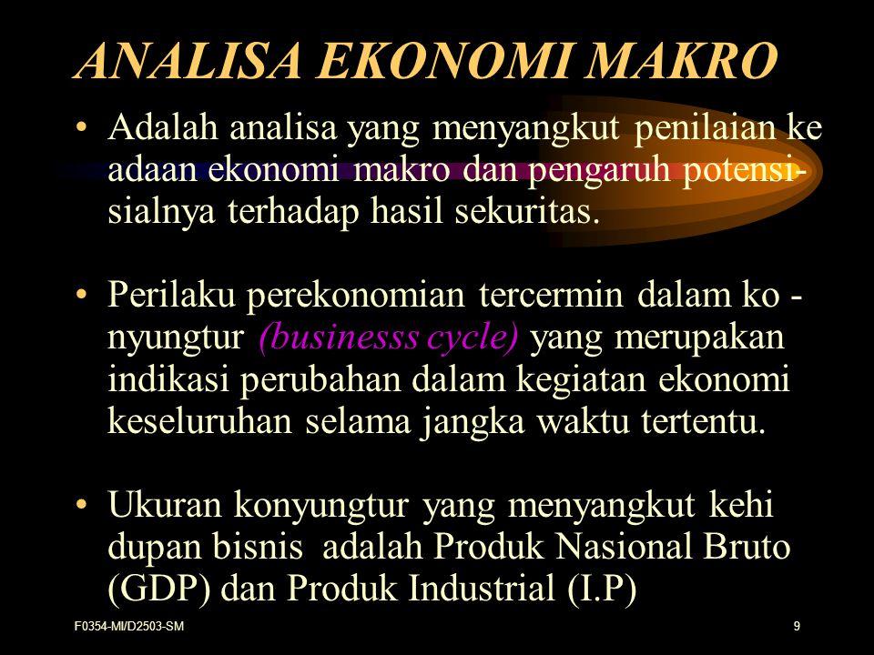 ANALISA EKONOMI MAKRO Adalah analisa yang menyangkut penilaian ke adaan ekonomi makro dan pengaruh potensi- sialnya terhadap hasil sekuritas.