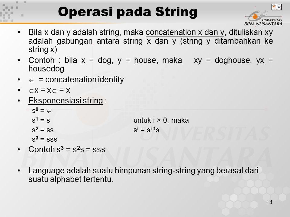 Operasi pada String