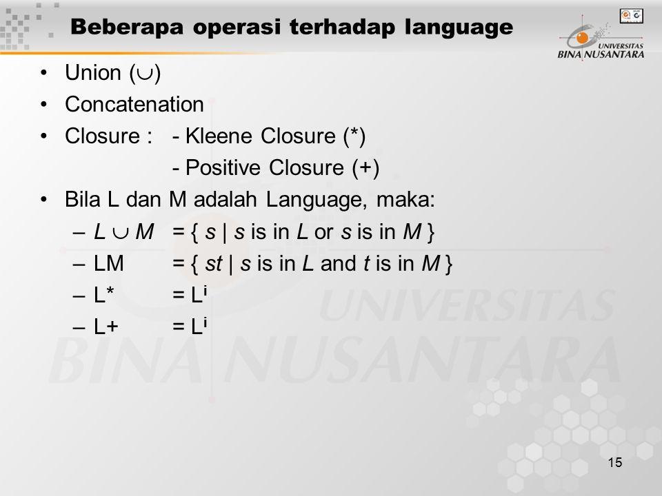 Beberapa operasi terhadap language
