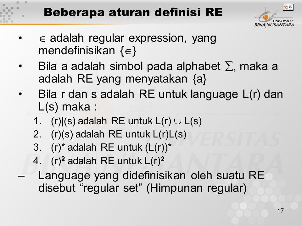 Beberapa aturan definisi RE