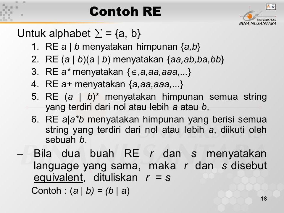 Contoh RE Untuk alphabet  = {a, b}
