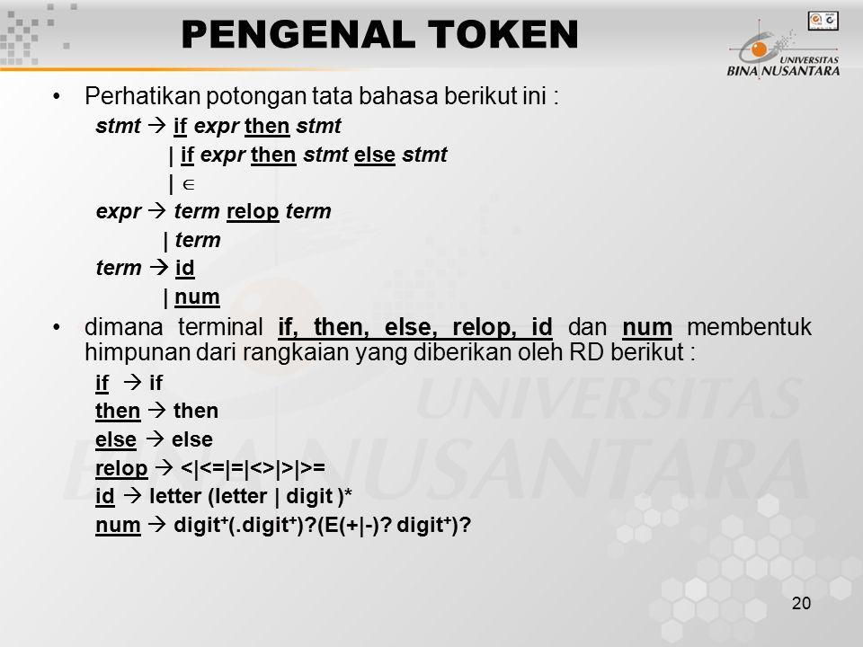 PENGENAL TOKEN Perhatikan potongan tata bahasa berikut ini :